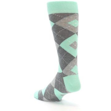 Image of Mint Gray Argyle Wedding Groomsmen Men's Dress Socks (side-2-back-15)