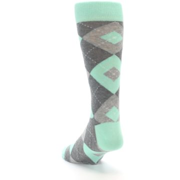 Image of Mint Gray Argyle Wedding Groomsmen Men's Dress Socks (side-2-back-16)
