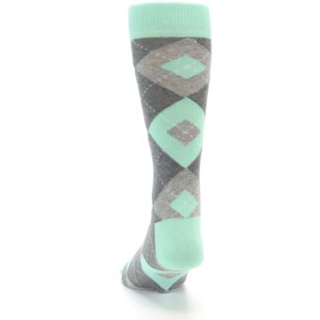 Image of Mint Gray Argyle Wedding Groomsmen Men's Dress Socks (back-17)