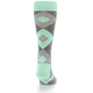 Image of Mint Gray Argyle Wedding Groomsmen Men's Dress Socks (back-19)