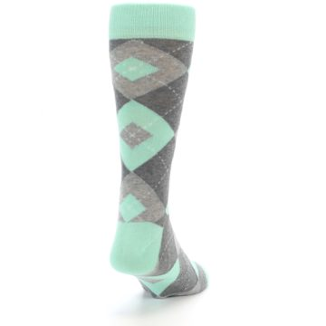 Image of Mint Gray Argyle Wedding Groomsmen Men's Dress Socks (side-1-back-20)
