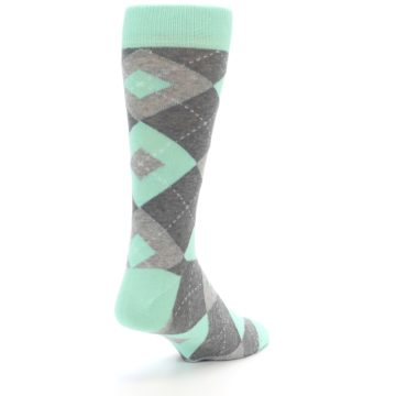 Image of Mint Gray Argyle Wedding Groomsmen Men's Dress Socks (side-1-back-21)