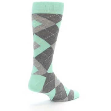 Image of Mint Gray Argyle Wedding Groomsmen Men's Dress Socks (side-1-back-22)