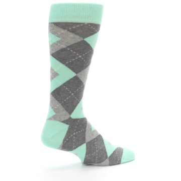 Image of Mint Gray Argyle Wedding Groomsmen Men's Dress Socks (side-1-23)