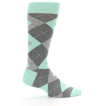 Image of Mint Gray Argyle Wedding Groomsmen Men's Dress Socks (side-1-24)