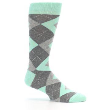 Image of Mint Gray Argyle Wedding Groomsmen Men's Dress Socks (side-1-25)