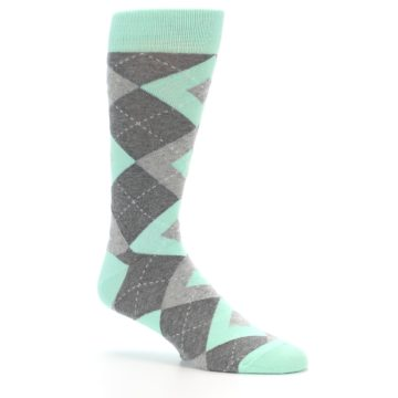 Image of Mint Gray Argyle Wedding Groomsmen Men's Dress Socks (side-1-26)