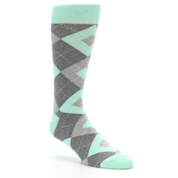 Image of Mint Gray Argyle Wedding Groomsmen Men's Dress Socks (side-1-27)