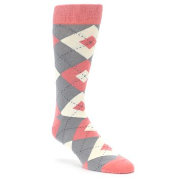 Coral and Grey Wedding Socks