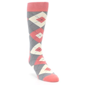 Image of Coral Gray Argyle Wedding Groomsmen Men's Dress Socks (side-1-front-02)