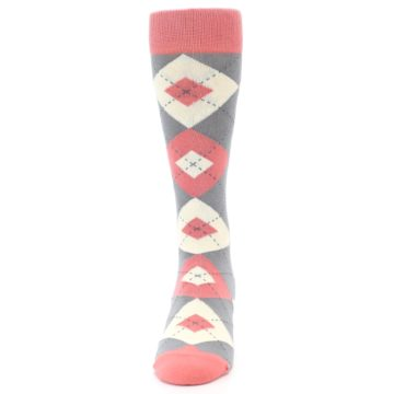 Image of Coral Gray Argyle Wedding Groomsmen Men's Dress Socks (front-05)