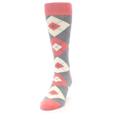 Image of Coral Gray Argyle Wedding Groomsmen Men's Dress Socks (side-2-front-06)