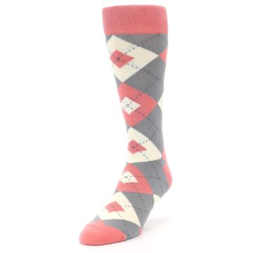 Image of Coral Gray Argyle Wedding Groomsmen Men's Dress Socks (side-2-front-07)