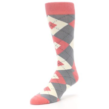 Image of Coral Gray Argyle Wedding Groomsmen Men's Dress Socks (side-2-front-08)
