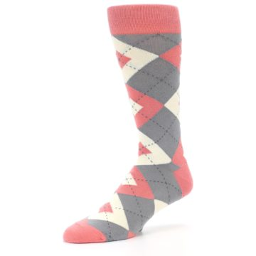 Image of Coral Gray Argyle Wedding Groomsmen Men's Dress Socks (side-2-09)