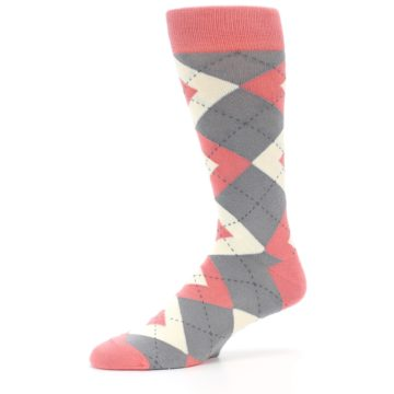 Image of Coral Gray Argyle Wedding Groomsmen Men's Dress Socks (side-2-10)