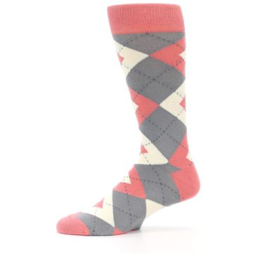 Image of Coral Gray Argyle Wedding Groomsmen Men's Dress Socks (side-2-11)