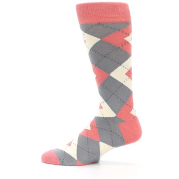 Image of Coral Gray Argyle Wedding Groomsmen Men's Dress Socks (side-2-12)