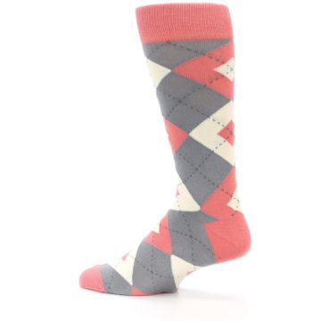 Image of Coral Gray Argyle Wedding Groomsmen Men's Dress Socks (side-2-13)