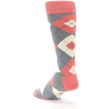 Image of Coral Gray Argyle Wedding Groomsmen Men's Dress Socks (side-2-back-15)