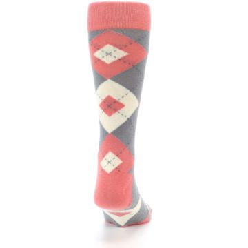 Image of Coral Gray Argyle Wedding Groomsmen Men's Dress Socks (back-19)
