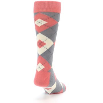 Image of Coral Gray Argyle Wedding Groomsmen Men's Dress Socks (side-1-back-20)