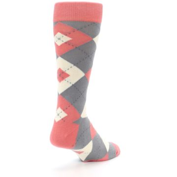Image of Coral Gray Argyle Wedding Groomsmen Men's Dress Socks (side-1-back-21)