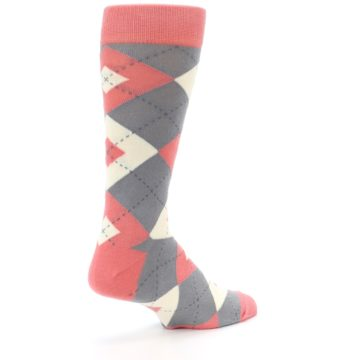 Image of Coral Gray Argyle Wedding Groomsmen Men's Dress Socks (side-1-back-22)