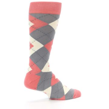 Image of Coral Gray Argyle Wedding Groomsmen Men's Dress Socks (side-1-23)