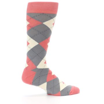 Image of Coral Gray Argyle Wedding Groomsmen Men's Dress Socks (side-1-24)