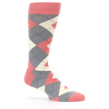 Image of Coral Gray Argyle Wedding Groomsmen Men's Dress Socks (side-1-25)