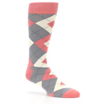 Image of Coral Gray Argyle Wedding Groomsmen Men's Dress Socks (side-1-26)