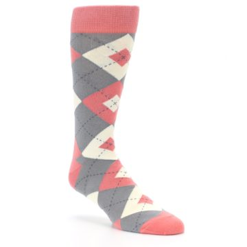 Image of Coral Gray Argyle Wedding Groomsmen Men's Dress Socks (side-1-27)