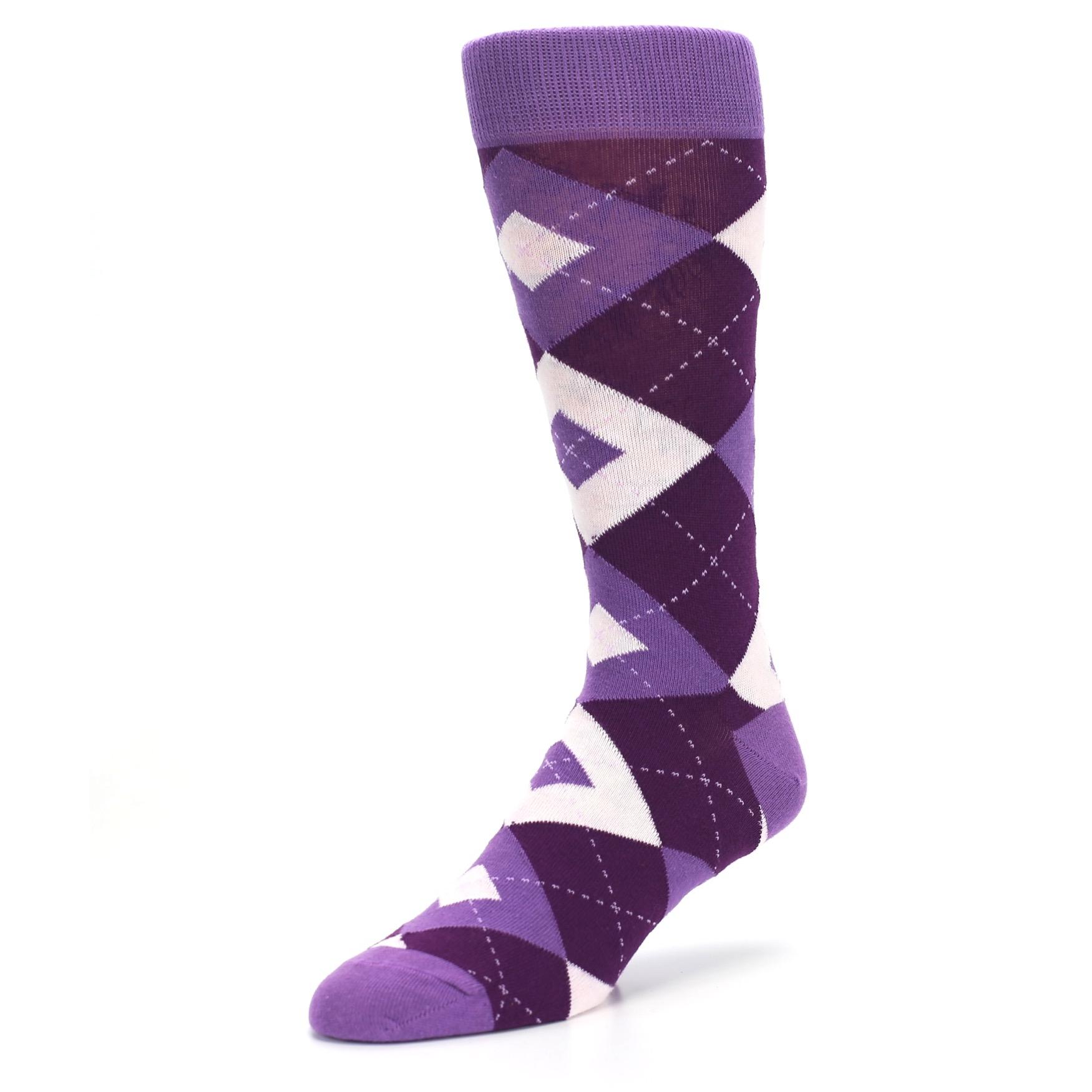 Wisteria Plum Argyle Wedding Groomsmen Men's Dress Socks