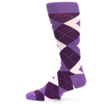 Image of Wisteria Plum Argyle Wedding Groomsmen Men's Dress Socks (side-2-12)