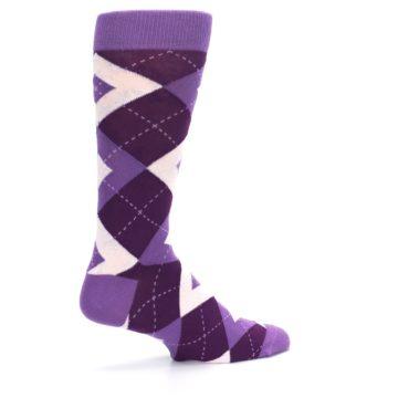 Image of Wisteria Plum Argyle Wedding Groomsmen Men's Dress Socks (side-1-23)