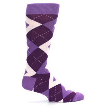 Image of Wisteria Plum Argyle Wedding Groomsmen Men's Dress Socks (side-1-24)