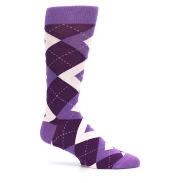 Image of Wisteria Plum Argyle Wedding Groomsmen Men's Dress Socks (side-1-25)