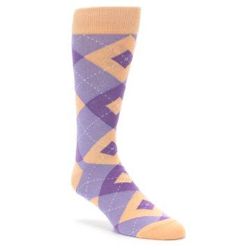 Purple and Peach Argyle Wedding Socks