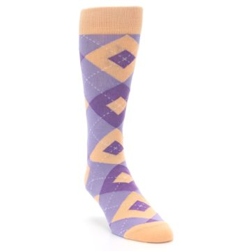 Image of Orchid Purple Peach Argyle Men's Dress Socks (side-1-front-02)