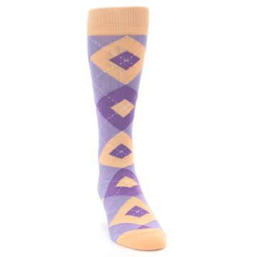 Image of Orchid Purple Peach Argyle Men's Dress Socks (side-1-front-03)