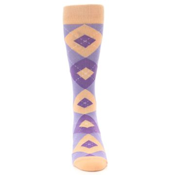 Image of Orchid Purple Peach Argyle Men's Dress Socks (front-04)