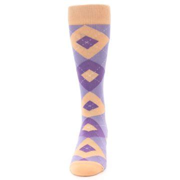 Image of Orchid Purple Peach Argyle Men's Dress Socks (front-05)