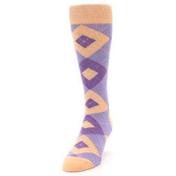 Image of Orchid Purple Peach Argyle Men's Dress Socks (side-2-front-06)