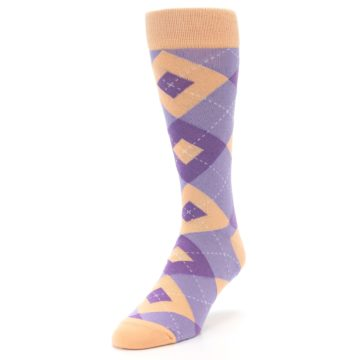 Image of Orchid Purple Peach Argyle Men's Dress Socks (side-2-front-07)