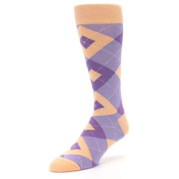 Image of Orchid Purple Peach Argyle Men's Dress Socks (side-2-front-08)