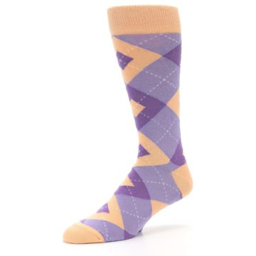 Image of Orchid Purple Peach Argyle Men's Dress Socks (side-2-09)