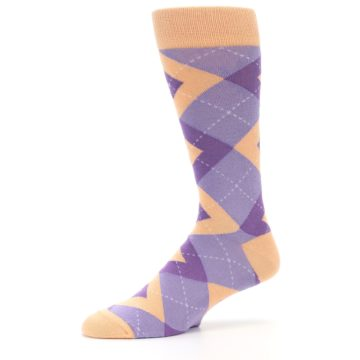 Image of Orchid Purple Peach Argyle Men's Dress Socks (side-2-10)