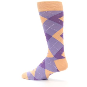Image of Orchid Purple Peach Argyle Men's Dress Socks (side-2-13)