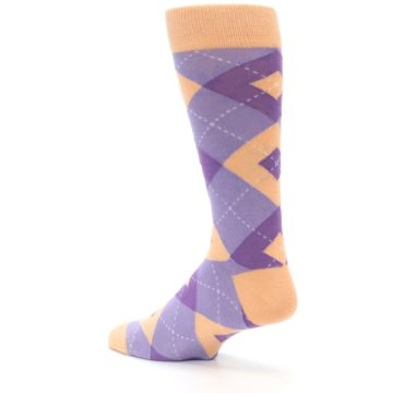 Image of Orchid Purple Peach Argyle Men's Dress Socks (side-2-back-14)